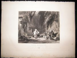 After Collins C1840 LG Folio Steel Engraving. Rustic Hospitality. Children Print